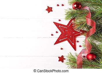 babioles, espace, lumière, cadre, star., noël, grand, bord, blanc rouge, copie, décoré, ruban