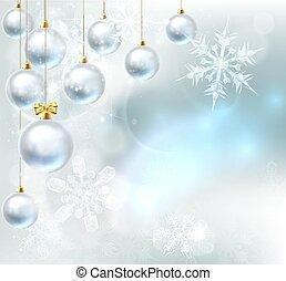 babioles, flocons neige, fond, noël