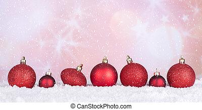 babioles, neige, clair, fond, noël, rouges