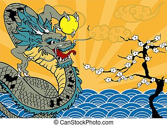 baboo, 雲, 日本語, 背景, ドラゴン