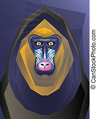 Abstract Mandril Monkey Illustration