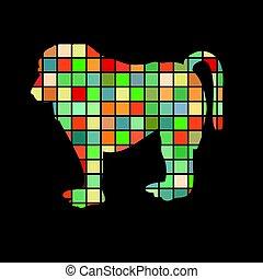 Baboon ape primate color silhouette animal