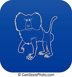 Baboon icon blue vector