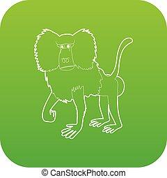 Baboon icon green vector
