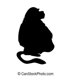 Baboon-like Ape Silhouette