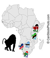 Baboon range map