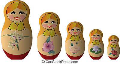 babushka - famous Russian souvenirs made ??of wood