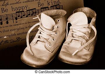 baby, årgång, sepia, skor