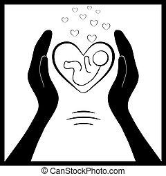 baby, 2, skydd, nyfödd