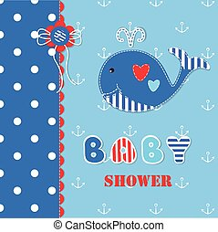 baby, 3, walvis, schattig, douche
