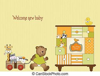 baby, aankomst, kaart