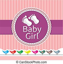 baby, aankomst, meisje, kaart, aankondiging