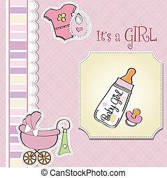 baby, aankondiging, meisje, kaart