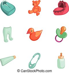 Baby accessories icons set, cartoon style