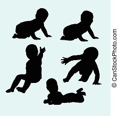 Baby action silhouette
