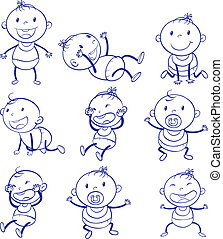 Baby actions - Illustration of a set of a baby with...