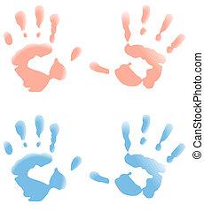 baby, afdrukken, hand