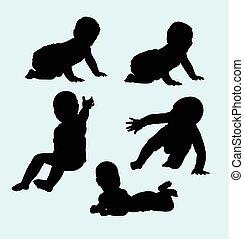 baby, aktiv, silhouette
