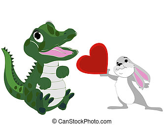 Baby alligator and bunny love