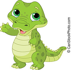 Illustration of very cute baby alligator