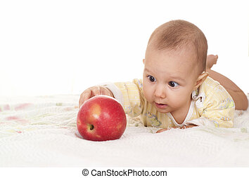 baby and an apple - portrait of a happy baby with  apple