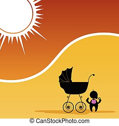 baby and baby stroller color vector