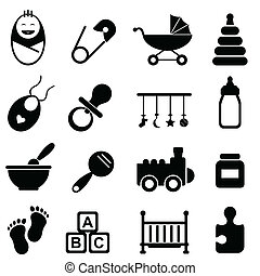 Baby and birth icons - Baby, infant and birth icon set