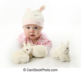 Baby and bunnies