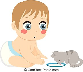Baby And Cat Milk - Baby boy looking to his pet cat drinking...