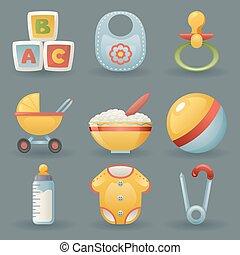 Baby and Childhood Icons  Symbols Realistic Cartoon Set Vector illustration
