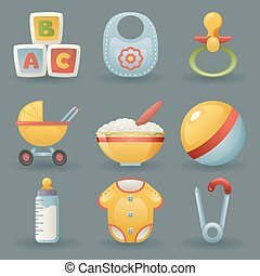 Baby and Childhood Icons  Symbols Realistic Cartoon Set Vector illustration