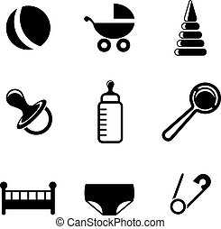 Baby and childish icons with a pram, ball, bottle, dummy or...