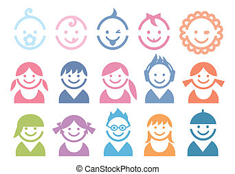 baby and children faces, vector icon set