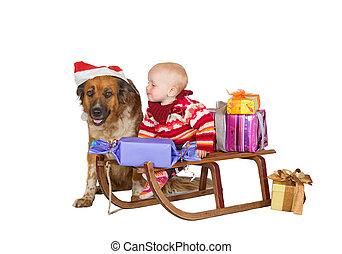 Baby and dog on Christmas sled