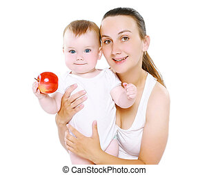 Baby and food concept - happy mother with her infant