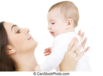 baby and mama - picture of happy mother with baby over white