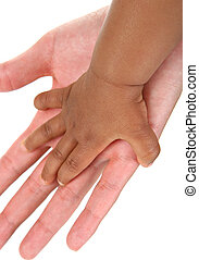 Baby and Mother Hands Together on Isolated Background