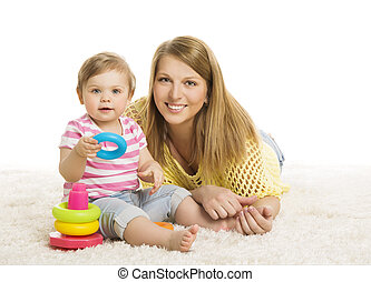Baby and Mother, Kid Playing Blocks Toy, Early Children Development Toys, Young Family Little Child one year old