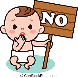Baby and No signs - Vector illustration.