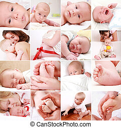 Collage of different photos of babies and family moments