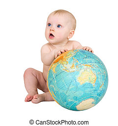 Baby and big terrestrial globe on the white