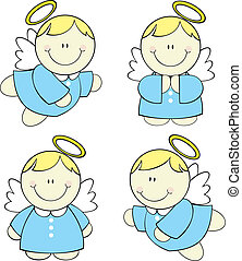 baby angels set - set of isolated cute little angels, vector...