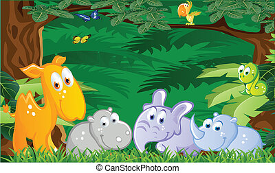 Baby animals cartoon in the jungle