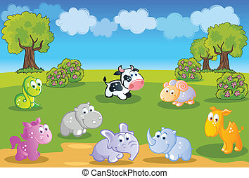 Baby animals cartoon with garden