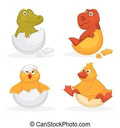 Baby animals hatch eggs or cartoon pets hatching. Vector...