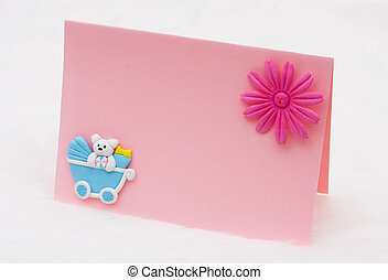 Baby Announcement - A blank pink card on a white background,...