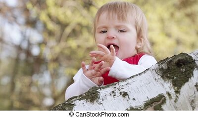 Baby applause - Little girl sitting on a birch, applauds