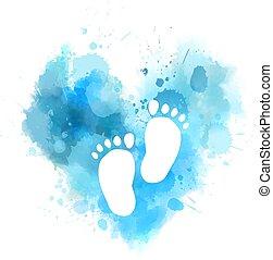 baby, aquarell, herz, fußabdrücke, blaues