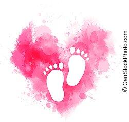 baby, aquarell, herz, fußabdrücke, rosa