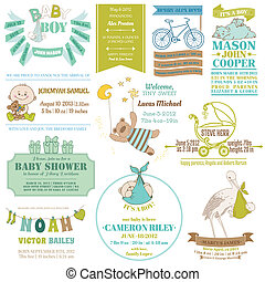 Baby Arrival and Shower Collection - for card design, scrapbook - in vector